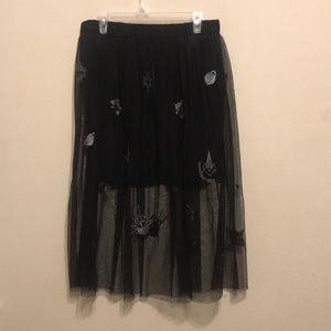 Beautiful black miniskirt with tulle size Large